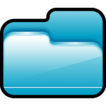 cartella aperta icona blu