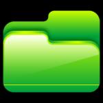 cartella aperta icona verde