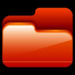 cartella aperta icona rossa